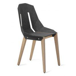 Šedá plstěná židle Tabanda DIAGO s dubovou podnoží