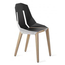 Bílá čalouněná židle Tabanda DIAGO s dubovou podnoží