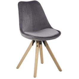 SCANDI Tmavě šedá sametová jídelní židle Damian