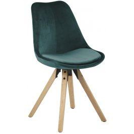 SCANDI Lahvově zelená sametová jídelní židle Damian