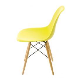 Culty Limetkově žlutá plastová židle DSW s bukovou podnoží