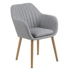 SCANDI Světle šedá látková jídelní židle Milla s prošíváním