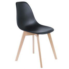 Time for home Černá plastová jídelní židle Artas s bukovou podnoží