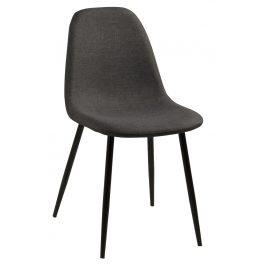 SCANDI Tmavě šedá látková jídelní židle Wanda s černou podnoží Židle do kuchyně