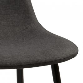 SCANDI Tmavě šedá látková jídelní židle Wanda s černou podnoží
