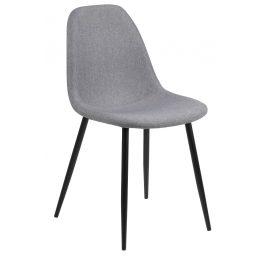 SCANDI Šedá látková jídelní židle Wanda s černou podnoží