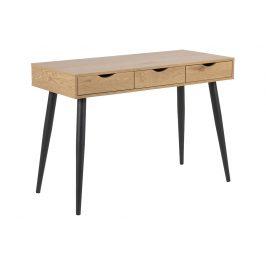 SCANDI Hnědý dřevěný pracovní stůl Pluto s černou podnoží 110x50 cm