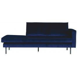 Hoorns Tmavě modrá sametová pohovka Raden 203 cm, pravá