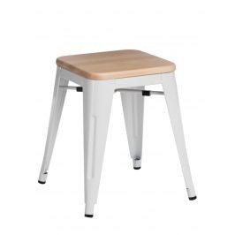 Culty Bílá kovová stolička Tolix 45 s dřevěným sedákem z borovice