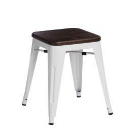 Culty Bílá kovová stolička Tolix 45 se sedákem z kartáčovaného dřeva