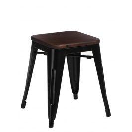 Culty Černá kovová stolička Tolix 45 s dřevěným sedákem