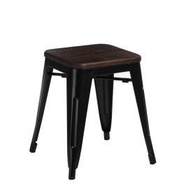 Culty Černá kovová stolička Tolix 45 se sedákem z kartáčovaného dřeva