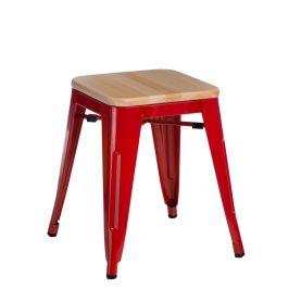 Culty Červená kovová stolička Tolix 45 s dřevěným sedákem z borovice