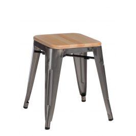 Culty Metalická kovová stolička Tolix 45 s dřevěným sedákem z borovice