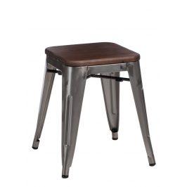 Culty Metalická kovová stolička Tolix 45 s dřevěným sedákem