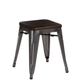 Culty Metalická kovová stolička Tolix 45 se sedákem z kartáčovaného dřeva