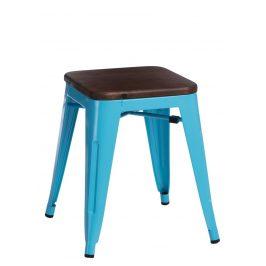 Culty Modrá kovová stolička Tolix 45 s dřevěným sedákem