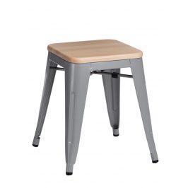 Culty Šedá kovová stolička Tolix 45 s dřevěným sedákem z borovice