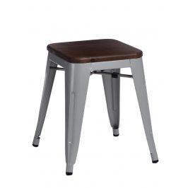 Culty Šedá kovová stolička Tolix 45 s dřevěným sedákem
