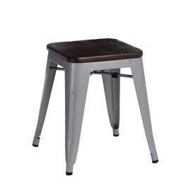 Culty Šedá kovová stolička Tolix 45 se sedákem z kartáčovaného dřeva