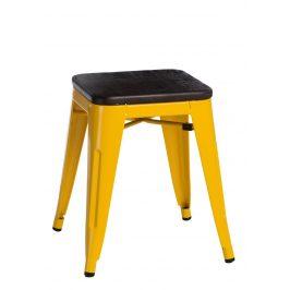 Culty Žlutá kovová stolička Tolix 45 se sedákem z kartáčovaného dřeva