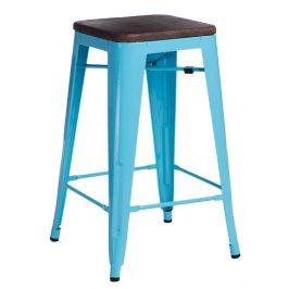 Culty Modrá kovová barová židle Tolix s dřevěným sedákem