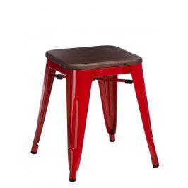 Culty Červená kovová stolička Tolix 45 s dřevěným sedákem