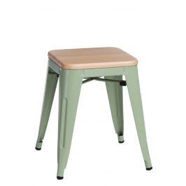 Culty Zelená kovová stolička Tolix 45 s dřevěným sedákem z borovice