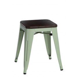 Culty Zelená kovová stolička Tolix 45 s dřevěným sedákem