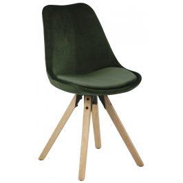 SCANDI Tmavě zelená sametová jídelní židle Damian