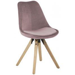 SCANDI Růžová sametová jídelní židle Damian