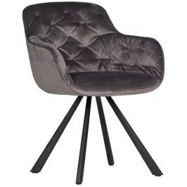 Hoorns Antracitově šedá sametová židle Herian