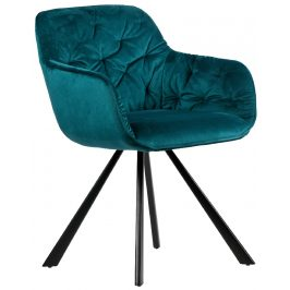 Hoorns Tmavě zelená sametová židle Herian