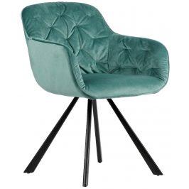 Hoorns Světle zelená sametová židle Herian