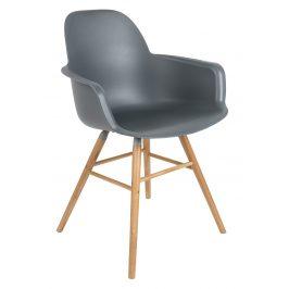 Tmavě šedá jídelní židle ZUIVER ALBERT KUIP s područkami
