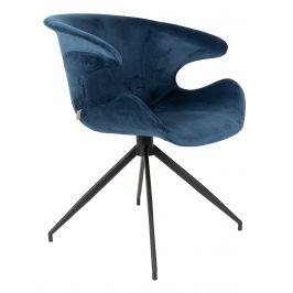 Modrá sametová jídelní židle ZUIVER MIA