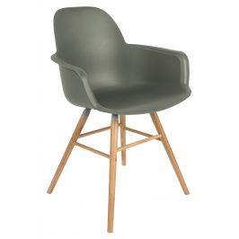 Zelená plastová jídelní židle ZUIVER ALBERT KUIP s područkami