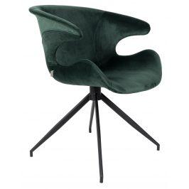 Zelená sametová jídelní židle ZUIVER MIA
