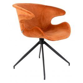 Oranžová sametová jídelní židle ZUIVER MIA