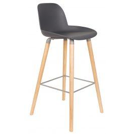 Tmavě šedá plastová barová židle ZUIVER ALBERT KUIP 75 cm
