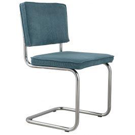 Modrá čalouněná židle ZUIVER RIDGE RIB s lesklým rámem