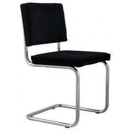 Černá čalouněná židle ZUIVER RIDGE RIB s lesklým rámem