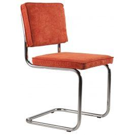 Oranžová čalounění židle ZUIVER RIDGE RIB s lesklým rámem