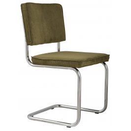Zelená čalouněná židle ZUIVER RIDGE RIB s lesklým rámem