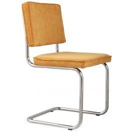 Žlutá čalouněná židle ZUIVER RIDGE RIB s lesklým rámem