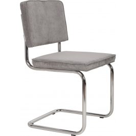 Světle šedá židle ZUIVER RIDGE RIB s lesklým rámem