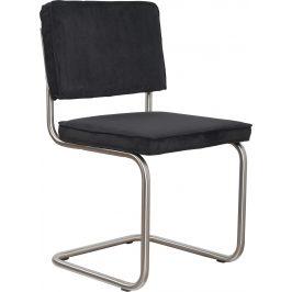 Černá čalouněná židle ZUIVER RIDGE RIB s matným rámem