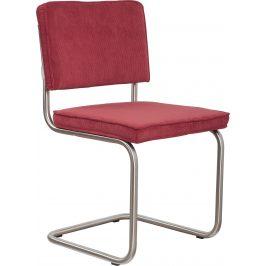 Červená čalouněná židle ZUIVER RIDGE RIB s matným rámem