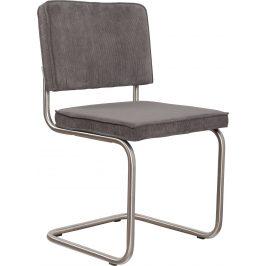 Šedá čalouněná židle ZUIVER RIDGE RIB s matným rámem