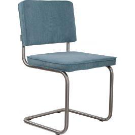 Modrá čalouněná židle ZUIVER RIDGE RIB s matným rámem